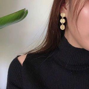 Matte Gold Mini Coin Drop Earrings